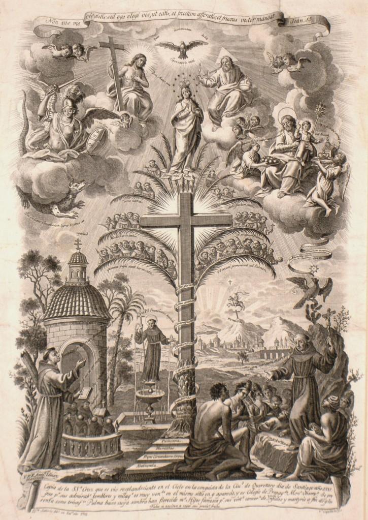 Copia de la SSª Cruz que se vio resplandeciente en el Cielo en la conquista de la Ciudad de Queretaro dia de Santiago año 1531