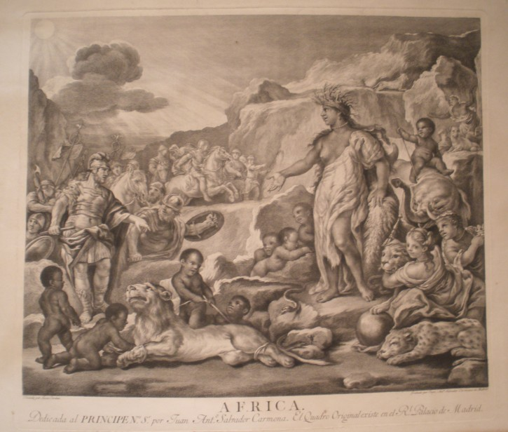 Africa (Carmona, Juan Antonio Salvador - Giordano, Luca) - 1782. 19th century edition - [Mithology and allegory, Spain, XVIII, Etching and burin, Wove paper]