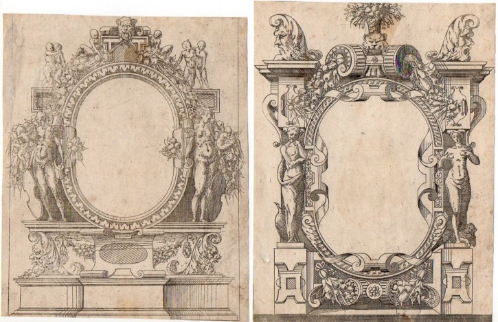 Pair of prints with grotesque motifs