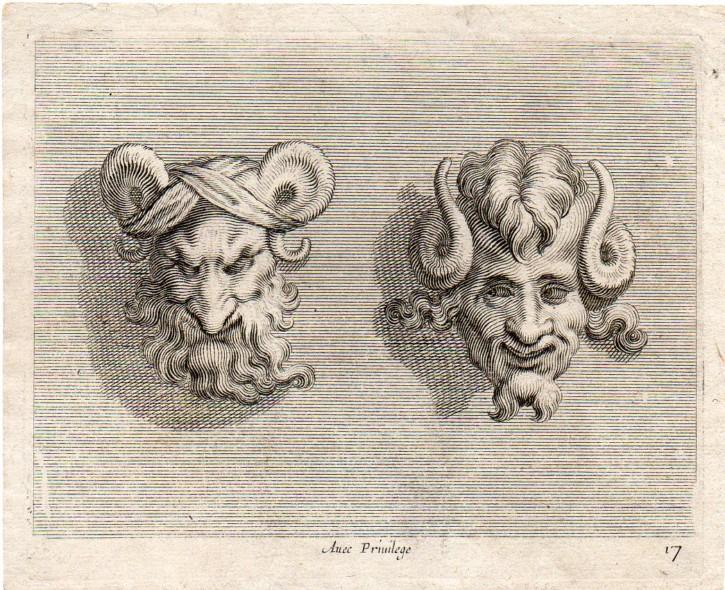 Pareja de caras grutescos (Anónimo) -  - [Imagenería, Francia, XVII, Buril, Papel verjurado]