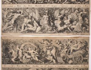 Serie de seis estampas con motivos grutescos