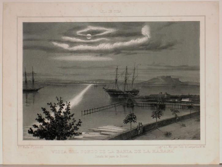 Vista del fondo de la Bahía de la Habana. Mialhe, Federico - Marquier, Francisco Louis. 1847-1848. Precio: 350€