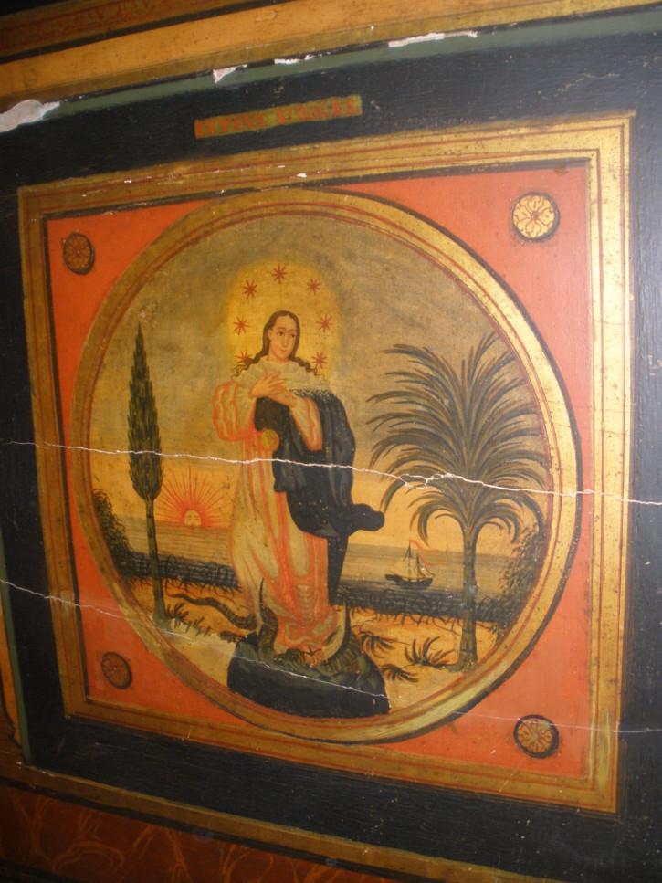 Cabezal de cama policromado olotino. . Finales siglo XVIII