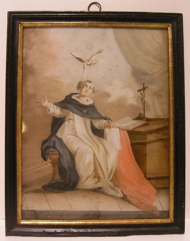 Santo Tomás de Aquino (Anónimo) -  - [Religión, Cataluña, XVIII, Óleo, Cristal, Original]