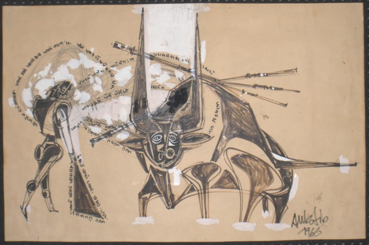 Bullfighting (Aulèstia Vázquez, Salvador) - 1966 - [Play time and Fiesta, Catalonia, XX, Charcoal and Chinesse ink, Wove paper]
