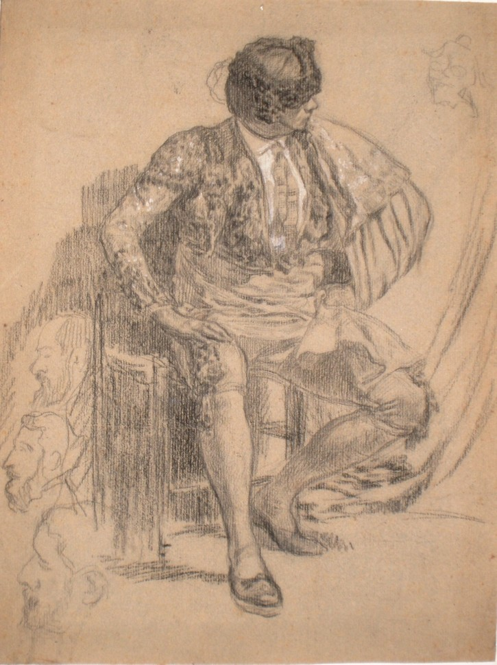 Bullfighter seated (Anónimo) - Finales siglo XIX - [Play time and Fiesta, Catalonia, XIX, Charcoal and clarion, Wove paper]