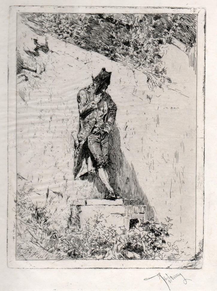 """Meditación (Fortuny Marsal, Marià) - 1869 - [Retrato, Cataluña, XIX, Aguafuerte y punta seca, Papel China """"appliqué"""" sobre papel vitela, Últimas adquisiciones]"""