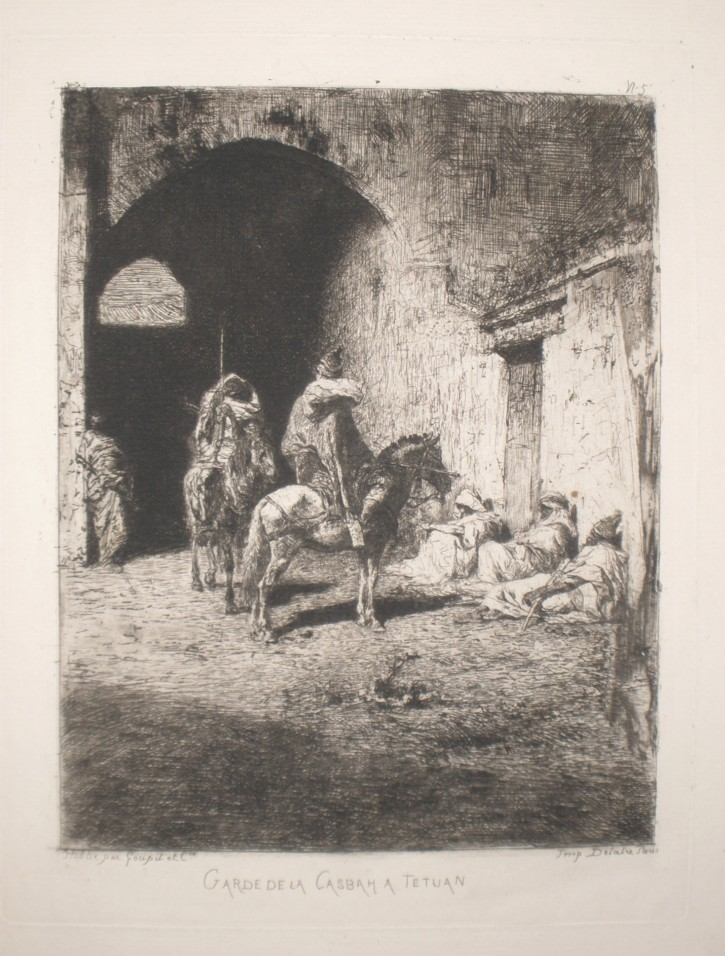 Guards from the Kasbah in Tetuan (Fortuny Marsal, Marià - Goupil) -  - [Views and landscapes, Catalonia, XIX, Etching, Laid paper]