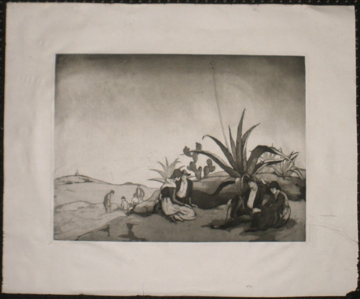 Agave (Nogués i Casas, Xavier) - 1916 - [Views and landscapes, Catalonia, XX, Etching and aquatint, China or Indian paper]