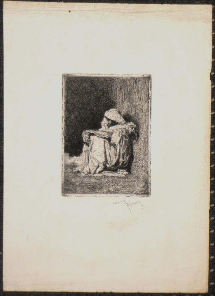 Morroco's sitting (Fortuny Marsal, Marià) -  - [Portrait, Catalonia, Etching and aquatint, China or Indian paper]