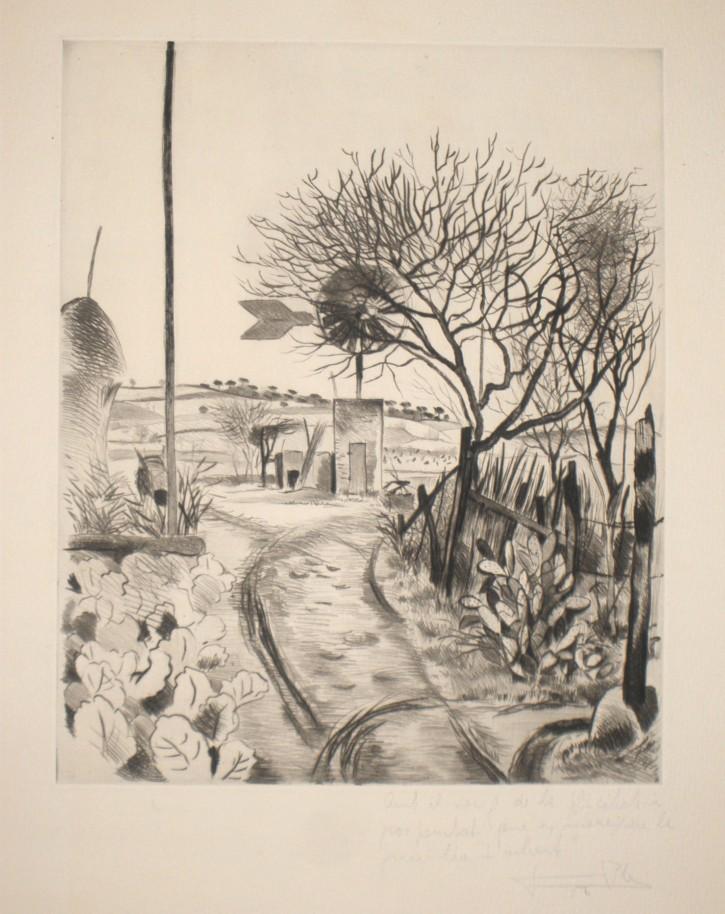 Molino de viento (Pla i Narbona, Jaume) - 1956 - [Vistas y paisajes, Cataluña, XX, Punta seca, Papel vitela, Últimas adquisiciones]