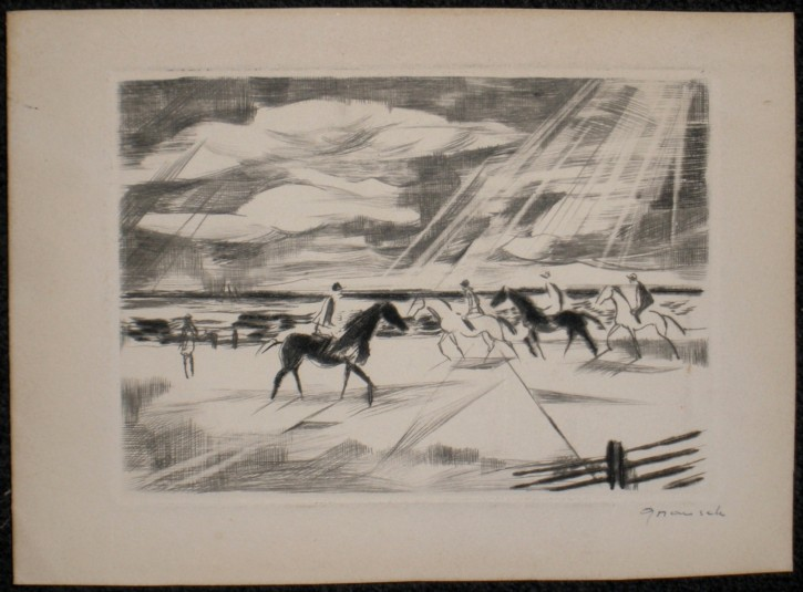 Landscape with horses and jockeys (Grau Sala, Emili) - 1961 - [Play time and Fiesta, Catalonia, XX, Dry point, Wove paper]
