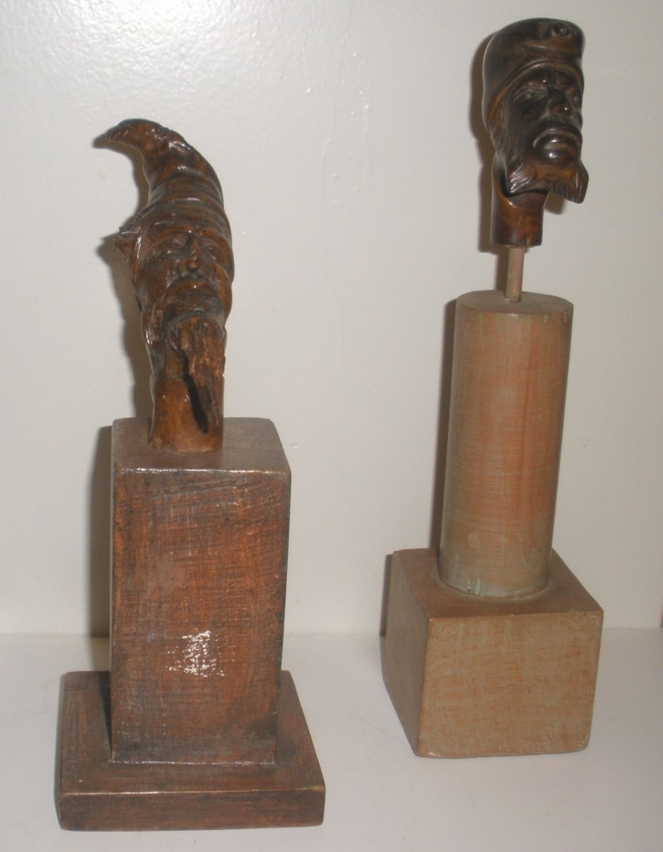 Two heads of grotesque characters on wood () -  - [North of Europe, XIX, Wood]