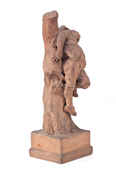 Sancho Panza hunged on a tree after ran away from a wild pig () - 1874 - [Catalonia, XIX, Terracotta]