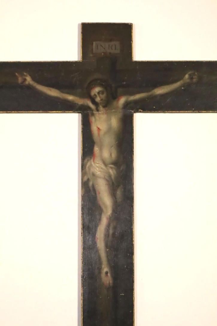 Painted cross with Christ crucified with Virgin (Anónimo) -  - [Religion, Mexico, XVIII, Oil, Wood, Without frame]