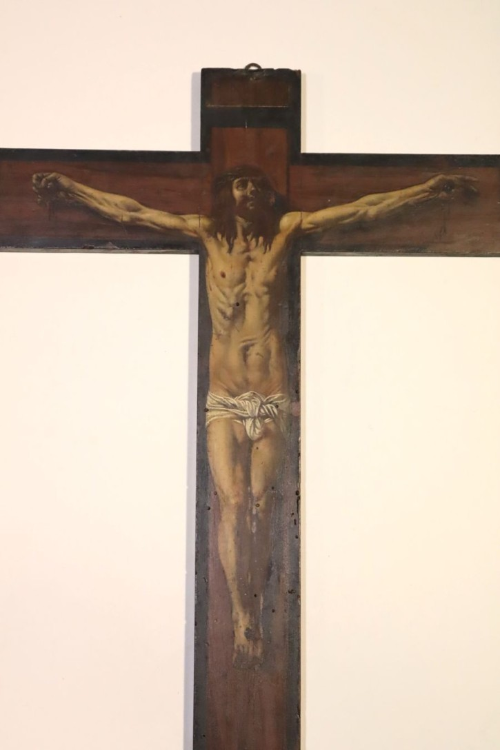 Cross painted with Christ crucified and skull of Adam (Anónimo) -  - [Religion, Spain, XVIII, Oil, Wood, Without frame]