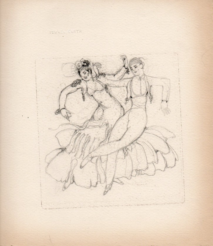 "Sketch for the print ""Sevillanas"" (Smith, Ismael) - 1919 - [Play time and Fiesta, Catalonia, XX, Pencil and charcoal, Wove paper]"