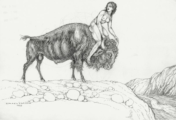 Rape of Europe (Smith, Ismael) - 1923 - [Mithology and allegory, Catalonia, XX, Pencil and ink, Wove paper]