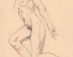 Naked woman in movement