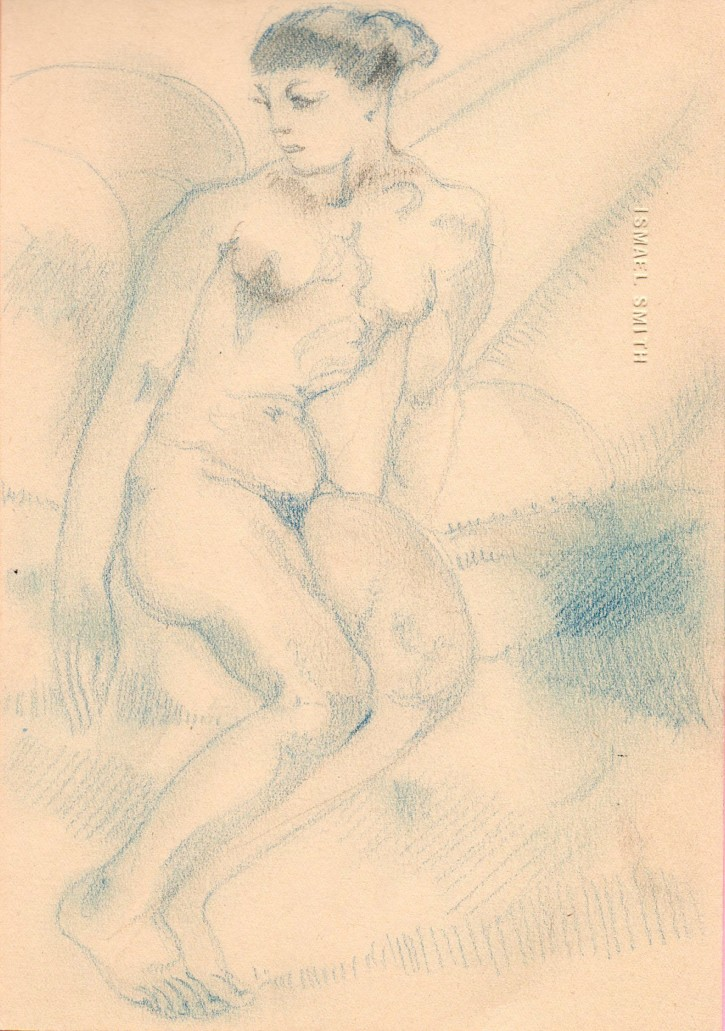 Seated naked woman (Smith, Ismael) - Ca. 1919 - [Studies, sketches, Catalonia, XX, Pencil, Wove paper]