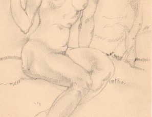 Naked woman seated