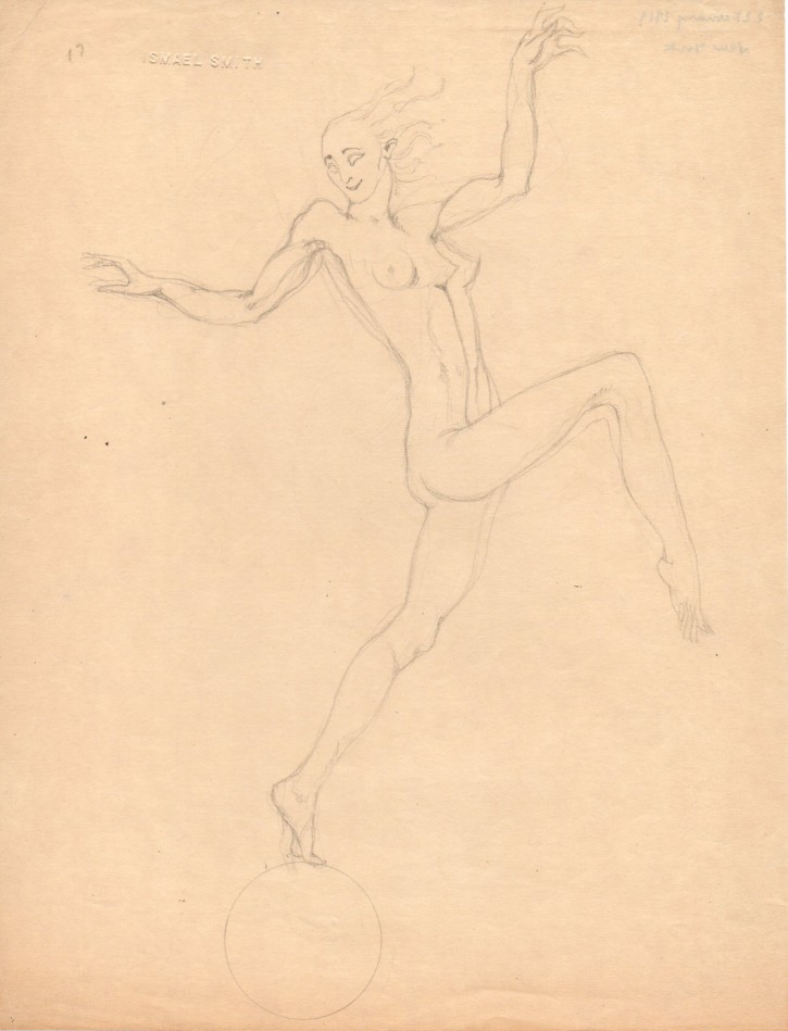 Naked woman on a cercle (Smith, Ismael) - 1919 - [Studies, sketches, Catalonia, XX, Pencil, Wove paper]