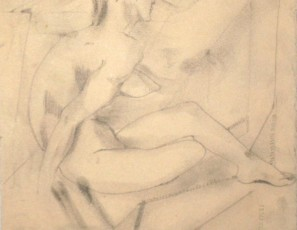 Seated naked woman with geometrical shapes