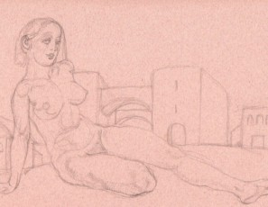 Naked laying woman with some buildings