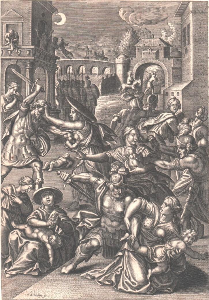 Matanza de los Inocentes (Van Mallery, Carel - Galle, Phillipe) - Ca. 1600 - [Influjo de la Luna, Países Bajos, XVI, Buril, Papel verjurado encolado, Últimas adquisiciones]