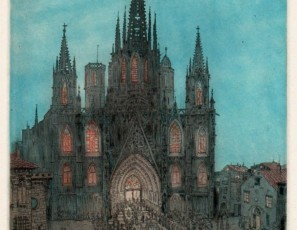 Vista nocturna de la Catedral de Barcelona