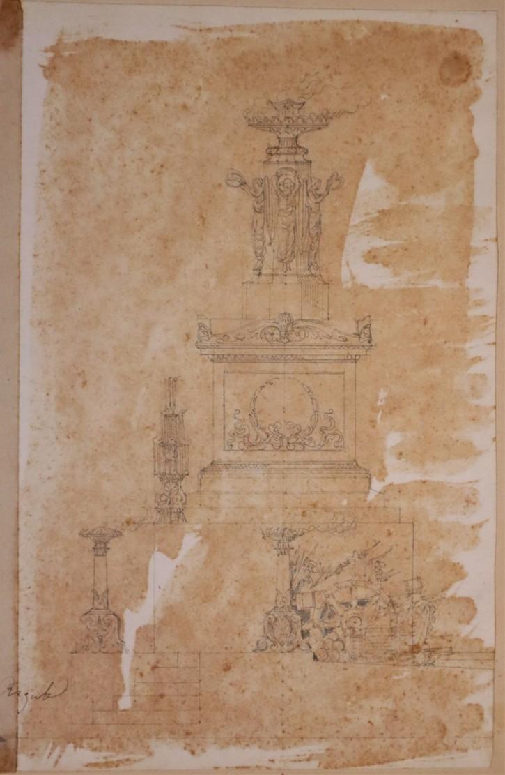 Pareja de diseños de monumentos efímeros conmemorativos. Rigalt i Farriols, Lluís. Mediados siglo XIX. Precio: 1.200€