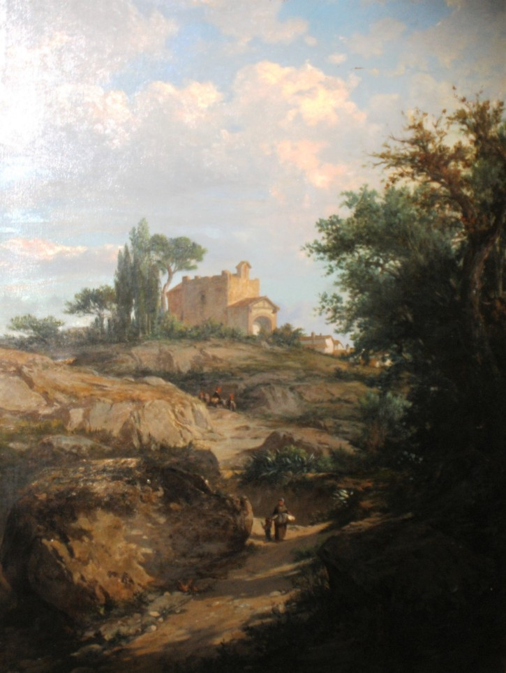 Bajada de la Iglesia (Rigalt i Farriols, Lluís) - Circa 1860 - [Vistas y paisajes, Cataluña, XIX, Óleo, Lienzo, Dorado, Últimas adquisiciones]