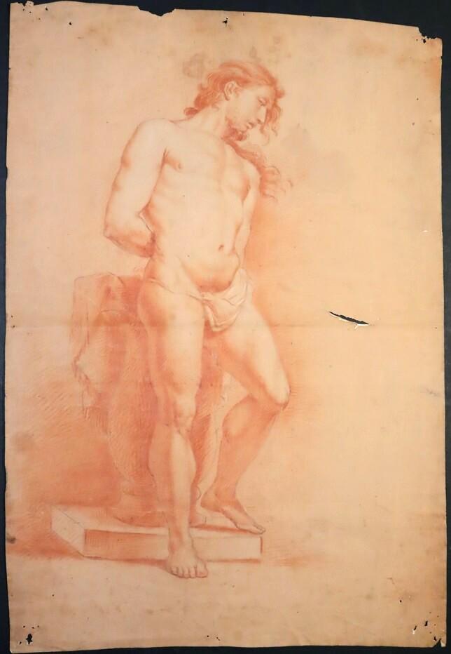Desnudo masculino (quizás modelo para Cristo en la columna) (Anónimo) -  - [Estudios, apuntes y esbozos, España, XIX, Lápiz y sanguina, Papel preparado, Últimas adquisiciones]