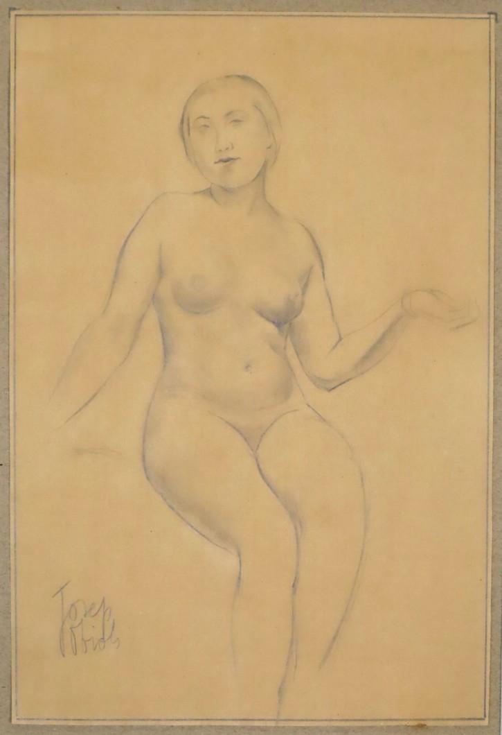 Desnudo femenino (Obiols i Palau, Josep) -  - [Estudios, apuntes y esbozos, Cataluña, XX, Lápiz, Papel vitela, Últimas adquisiciones]
