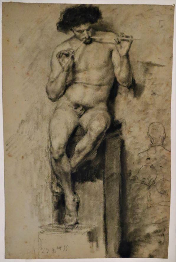 Hombre desnudo tocando el aulos