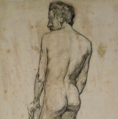 Hombre desnudo de espaldas. Anónimo. Último cuarto siglo XIX. Precio: 350€